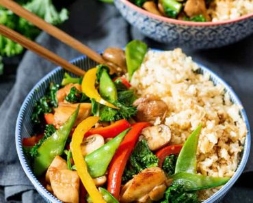 Honey-and-garlic-chicken-stir-fry-with-cauliflower-egg-fried-rice
